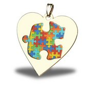 Autism Awareness Color Heart Puzzle Piece Pendant