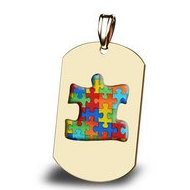 Autism Awareness Dogtag Color Puzzle Piece Pendant