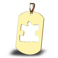 Autism Awareness Dogtag Cutout Puzzle Piece Pendant