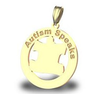 Autism Awareness Round Coutout Puzzle Piece Pendant