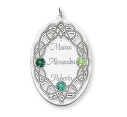 Personalized Celtic Family Pendant with Three Names and Birtstones