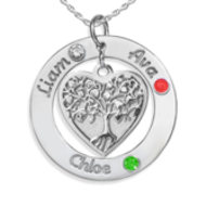 Personalized Round Family Tree Pendant With Three Birthstones   Names