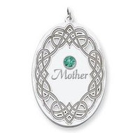 Personalized Celtic Family Pendant with Single Name and Birtstones