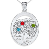Personalized Family Tree Pendant with Four Names and Birtstones