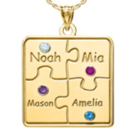 Personalized Family 4 Piece Puzzle Pendant wtij Names and Birthstones