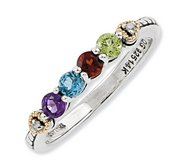 Sterling Silver   14k Four stone and Diamond Mother s Ring