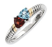 Sterling Silver   14k Gold Antiqued Mother s Ring w  Two Trillion Birthstones