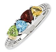Sterling Silver   14k Gold Antiqued Mother s Ring w  Four Trillion Birthstones