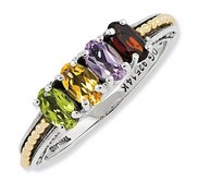 Sterling Silver   14k Gold Antiqued Mother s Ring w  Four Birthstones