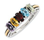 Sterling Silver   14k Gold Antiqued Mother s Ring w  Five Birthstones