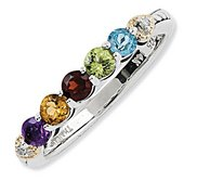 Sterling Silver   14k Five stone and Diamond Mother s Ring