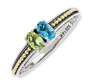 Sterling Silver   14k Gold Antiqued Mother s Ring w  Two Birthstones