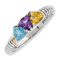 Sterling Silver   14k Gold Antiqued Mother s Ring w  Three Trillion Birthstones