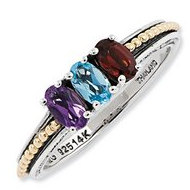 Sterling Silver   14k Gold Antiqued Mother s Ring w  Three Birthstones