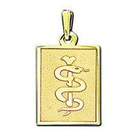 14K Filled Gold Rectangle Medical Pendant