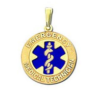 "14K Filled Gold Round ""Emergency Medical Technician"" Pendant W/ Blue"