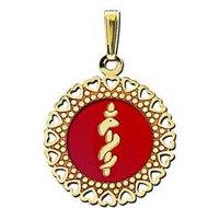 14K Filled Gold Round Medical Pendant W/ RED ENAMEL