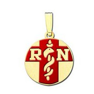 "14K Filled Gold Round ""RN""  Pendant W/ Red Enamel"