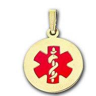14K Filled Gold Round Medical Pendant w/ Enamel