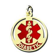 "14K Filled Gold Round Medical ""Diabetic"" Charm W/ Red Enamel"