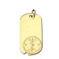14K Filled Gold Dog Tag Medical Pendant