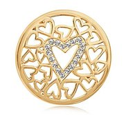 Nikki Lissoni Gold tone 1 1 4 Inch Swarovski Surrounded By Hearts