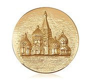 Nikki Lissoni Gold tone 1 3 4 Inch 2 Sided Moscow St  Basils Cathedral