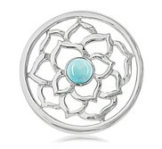 Nikki Lissoni Silver tone 1 1 4 Inch Blue Turquoise Flower Coin