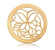 Nikki Lissoni Gold tone 1 Inch Enamel White Butterfly Coin
