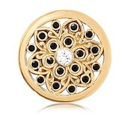 Nikki Lissoni Gold tone 1 Inch Swarovski Ancient Flower Coin