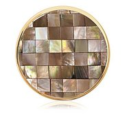 Nikki Lissoni Gold tone 1 1 4 Inch Brown Shell Mosaic Coin