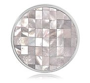 Nikki Lissoni Silver tone 1 1 4 Inch Mother of Pearl Mosaic Coin