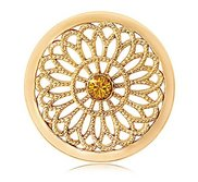 Nikki Lissoni Gold tone 1 1 4 Inch Orange Swarovski Vintage Coin