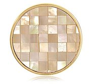Nikki Lissoni Gold tone 1 1 4 Inch Yellow Shell   MOP Mosaic Coin