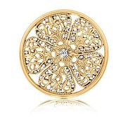 Nikki Lissoni Gold tone 1 3 4 InchClear Swarovski Elements Coin