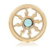 Nikki Lissoni Gold tone 1 Inch Turquoise Thunder Coin