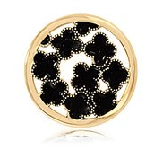 Nikki Lissoni Gold tone 1 1 4 Inch Enamel Black Flowers Coin