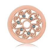 Nikki Lissoni Gold tone 1 Inch Blue Swarovski Curly Flower Coin