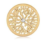 Nikki Lissoni Gold tone 1 1 4 Inch Clear Swarovski Elements Coin