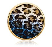 Nikki Lissoni Gold tone 1 1 4 Inch Overlay Blue Leopard Print Coin
