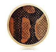 Nikki Lissoni Gold tone 1 1 4 Inch Overlay Brown Snake Print Coin