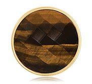 Nikki Lissoni Gold tone 1 1 4 Inch Faceted Tiger Eye Coin
