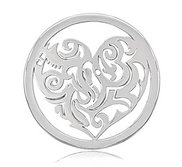 Nikki Lissoni Silver tone 1 1 4 Inch Tribal Heart Coin