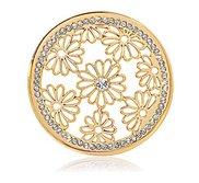 Nikki Lissoni Gold tone 1 3 4 Inch Sparkling Daisies Coin
