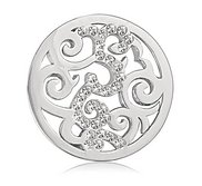 Nikki Lissoni Silver tone 1 Inch Clear Swarovski Element Baroque Coin