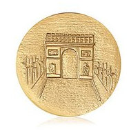 Nikki Lissoni Gold tone 1 3 4 Inch Two Sided Paris   Arc de Triomphe