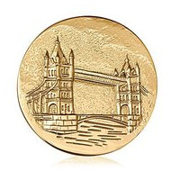 Nikki Lissoni Gold tone 1 3 4 Inch Two Sided London Tower Bridge Coin