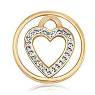Nikki Lissoni Gold tone 1 Inch Clear Swarovski Love Keeper Coin