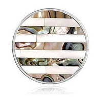 Nikki Lissoni Silver tone 1 1 4 Inch Striped Shell Coin
