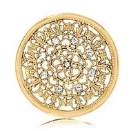 Nikki Lissoni Gold tone 1 3 4 Inch Clear Swarovski Elements Curl Coin